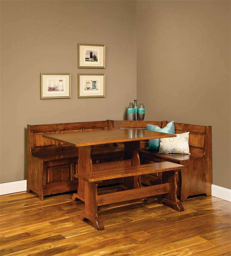 Traditional Amish Corner Nook With Storage And Trestle Table