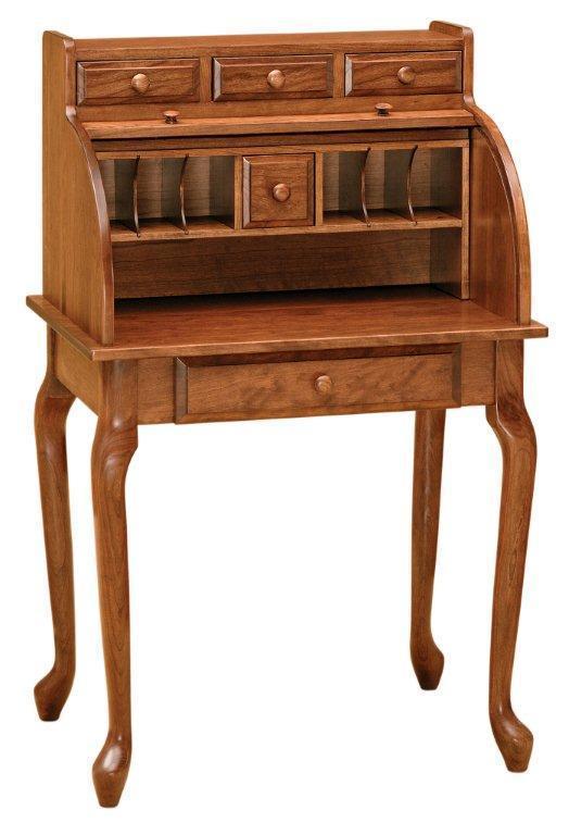 Queen Anne Style Secretary Roll Top Desk From