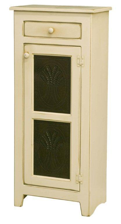 Amish Small Pine Wood Pie Safe With Tin Doors