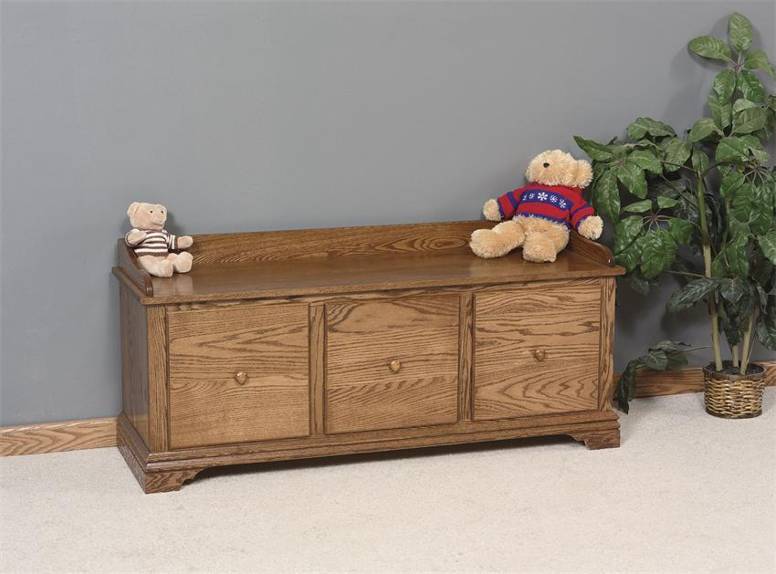 Country Style Storage Bench With Drawers From