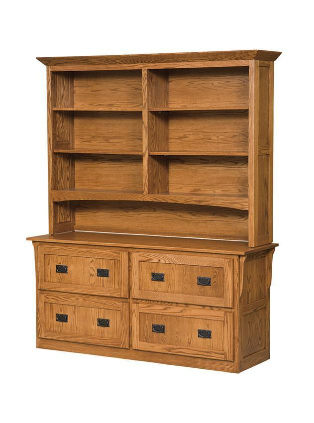 Mission 4 Drawer Lateral Filing Cabinet With Bookcase From