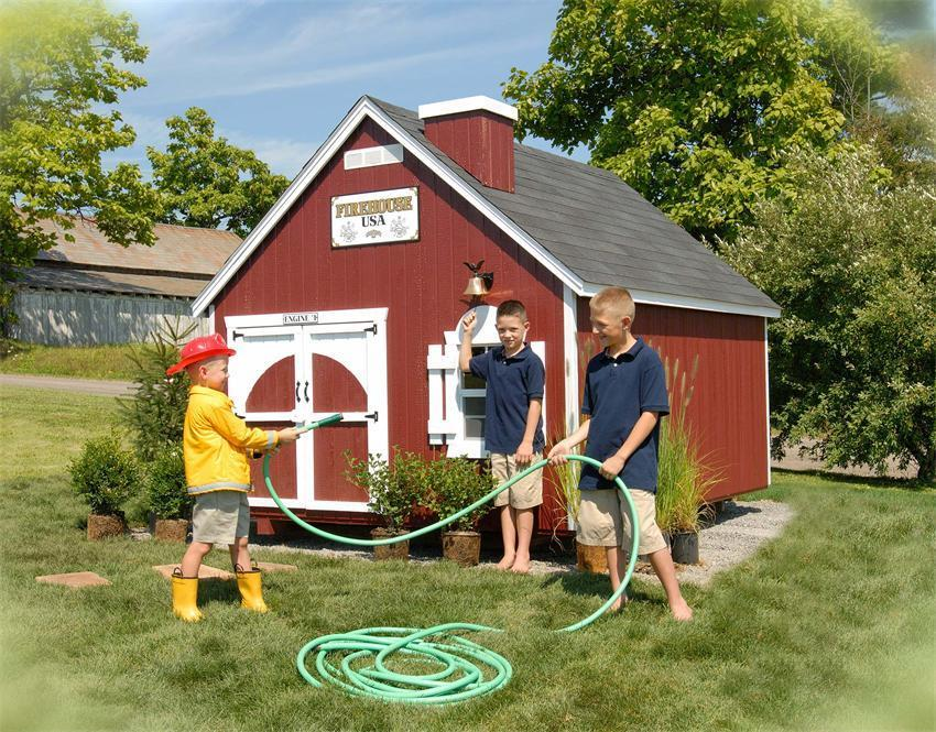 Amish Handcrafted Firehouse Playhouse Kit