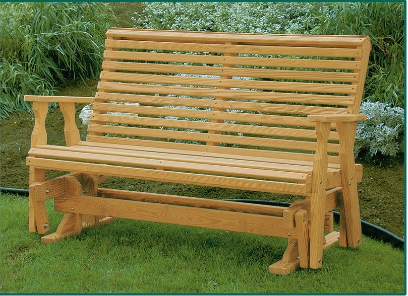 Pine Wood Roll Back Glider Bench From Dutchcrafters Amish