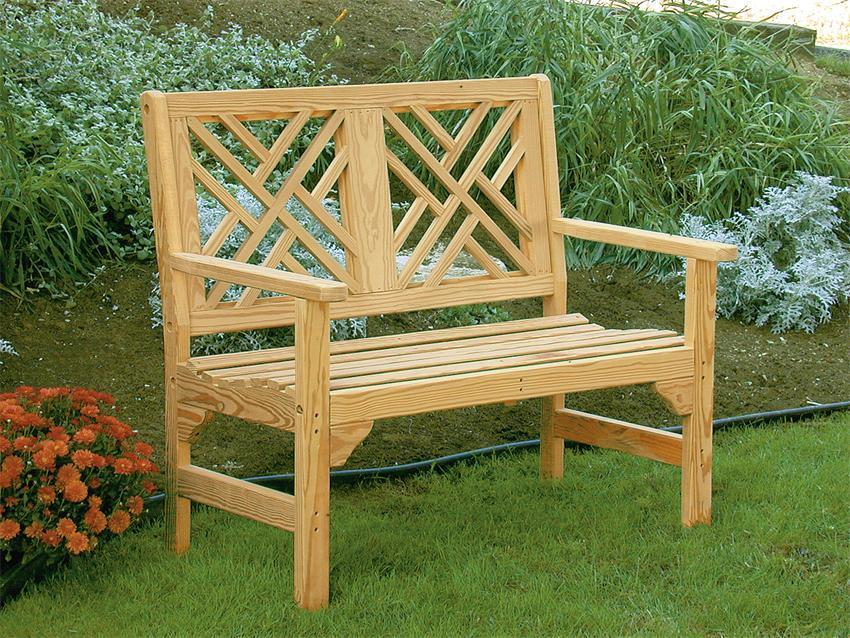 Amish Wood Chippendale Garden Bench From Dutchcrafters