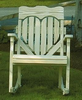 Pine High Back Heart Porch Rocker From Dutchcrafters Amish