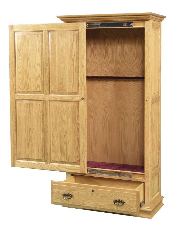Amish Handcrafted Gun Cabinet With Sliding Door From