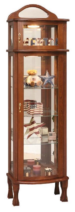 Rustic Cherry Rectangular Table Formal Dining Room Set: Amish Rectangular Bonnet Top Curio Cabinet