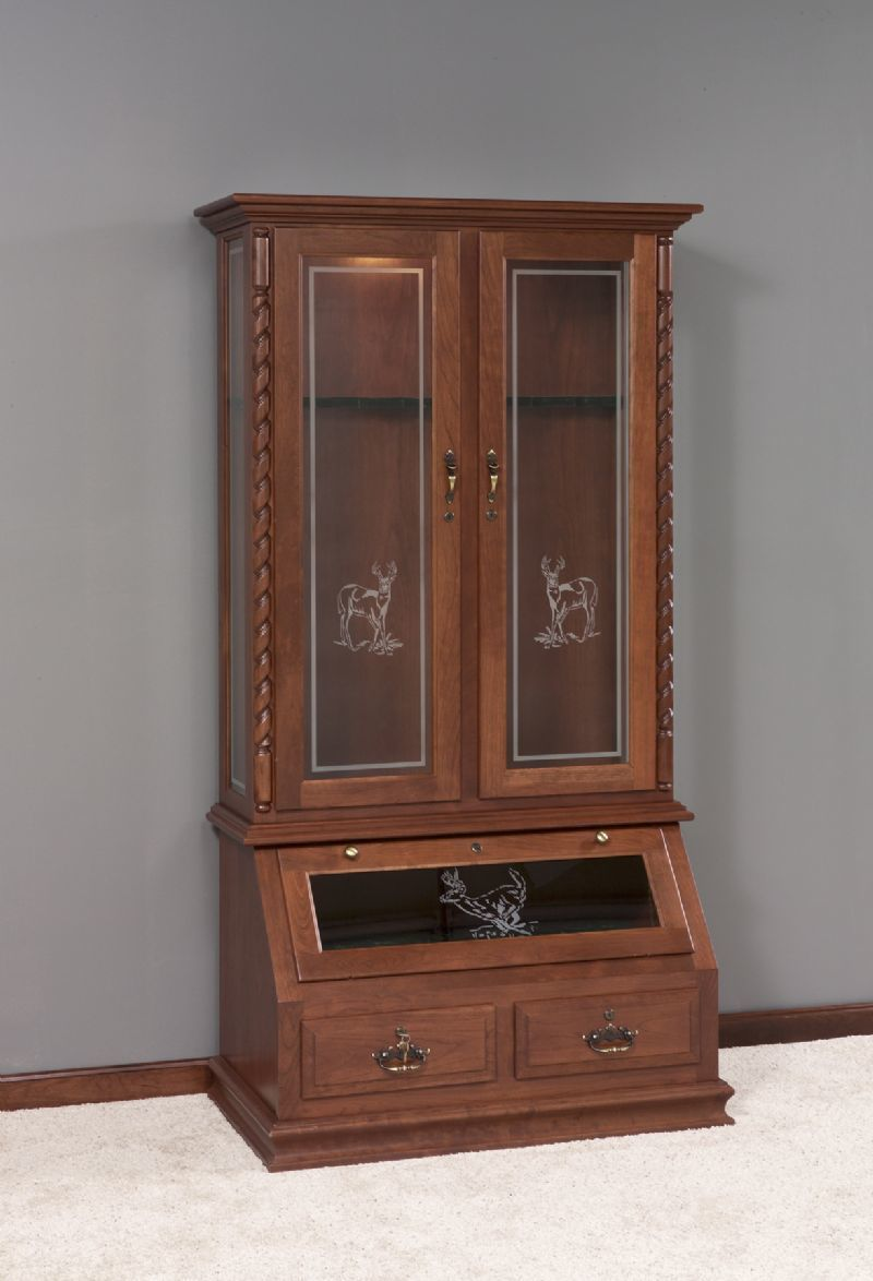 Whitetail Solid Wood Gun Cabinet With Deer Design From