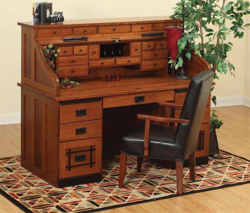 Mission Style Quarter Sawn White Oak Roll Top Desk From