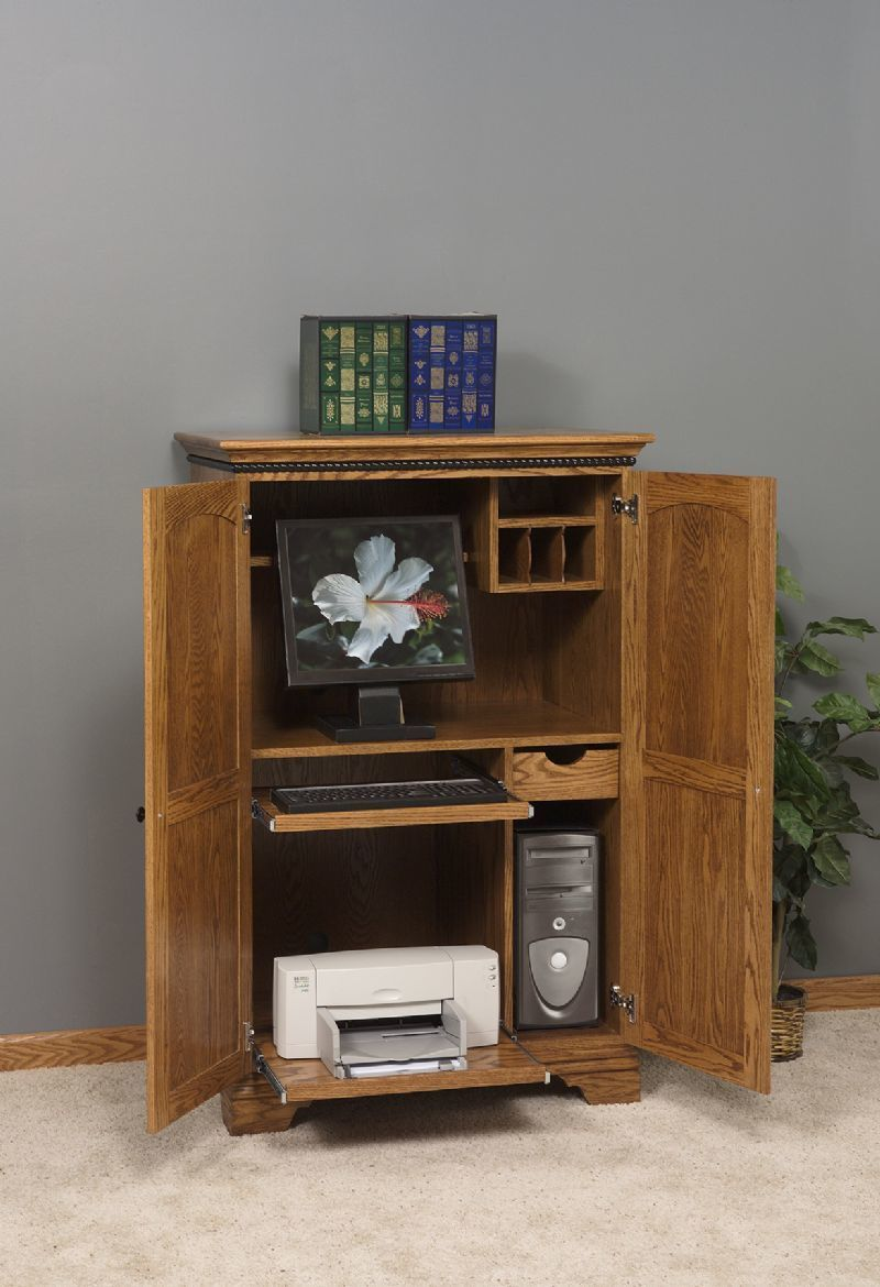 American Made Petite Computer Armoire Desk From Dutchcrafters
