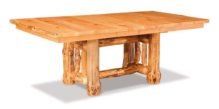Cedar Log Dining Room Table - Conference table with leaves