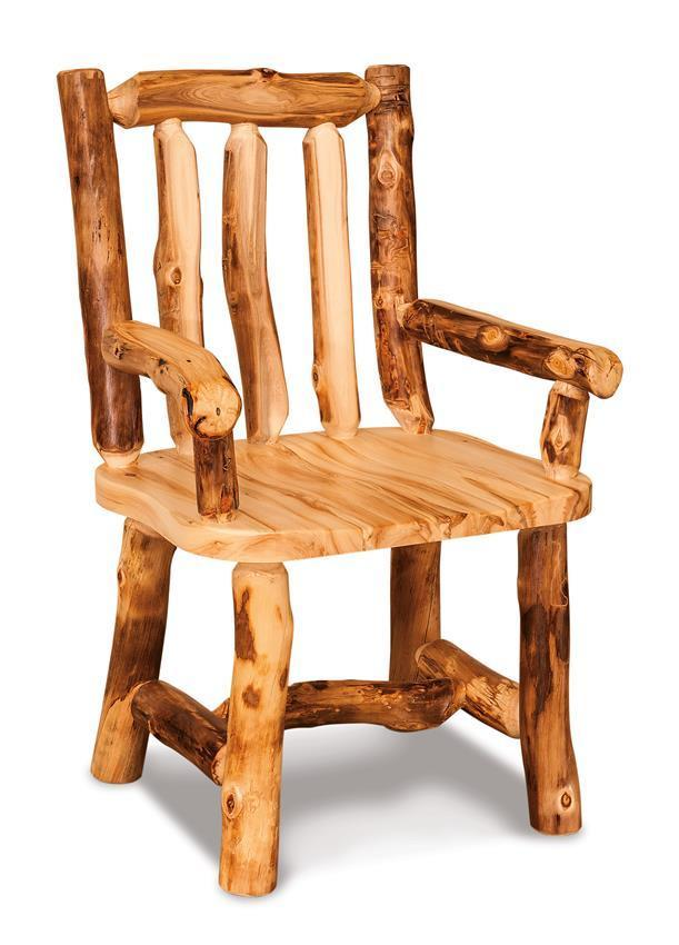 Amish Rustic Pine Log Chairs With Arms