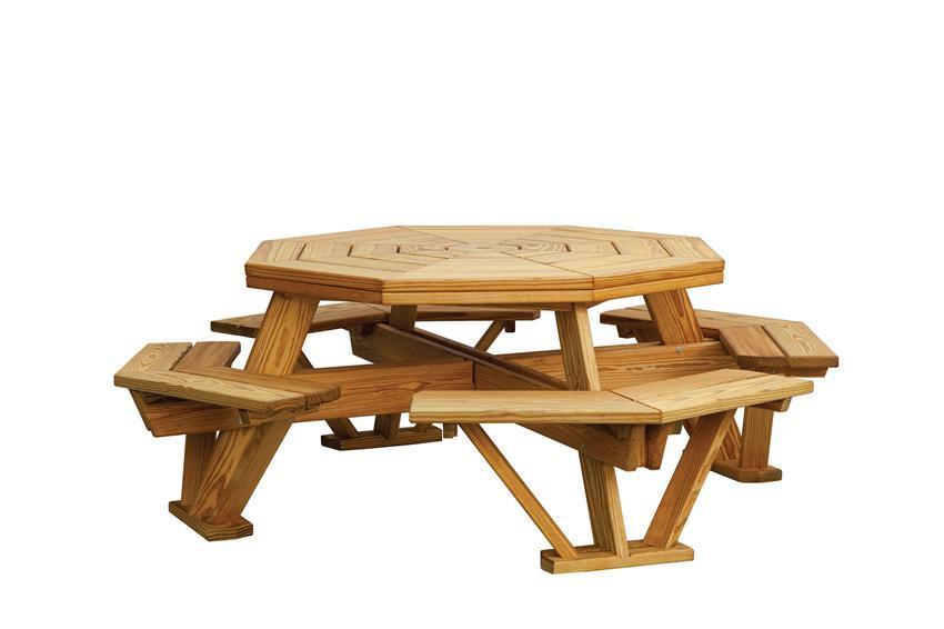 Pine Wood Octagon Picnic Table With