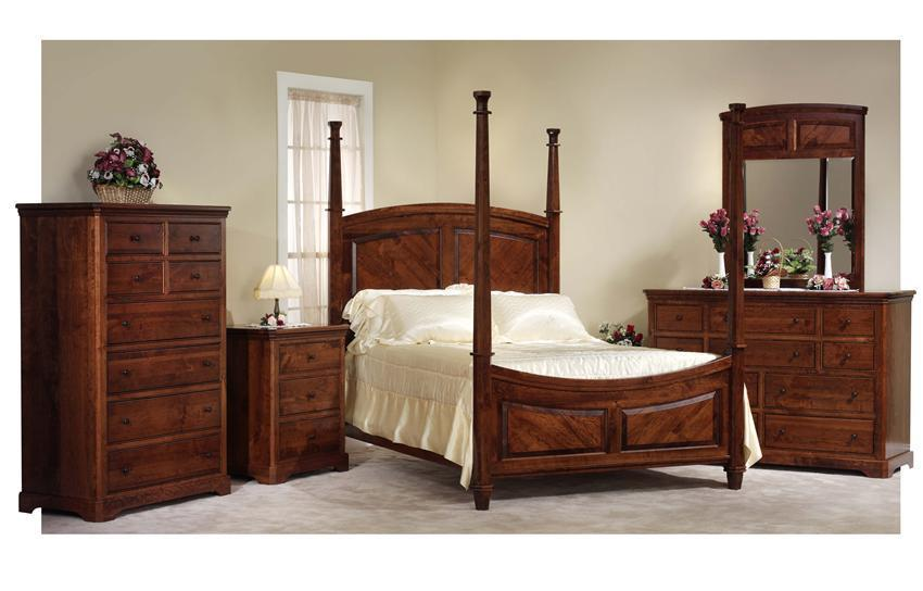 Amish Five Piece Bedroom Set With 4 Poster Bed In Rustic Cherry Wood