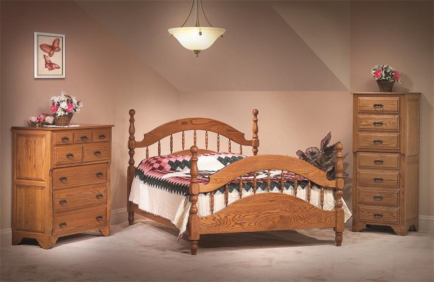 amish oak crest three piece bedroom furniture set from