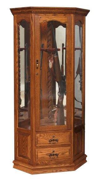 Solid Wood 8 Gun Corner Cabinet With Rotating Gun Rack From