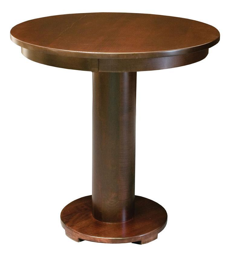 Amish Rustic Plank Top Dining Set Round Pedestal Solid: Amish Round Barrel Bistro Table