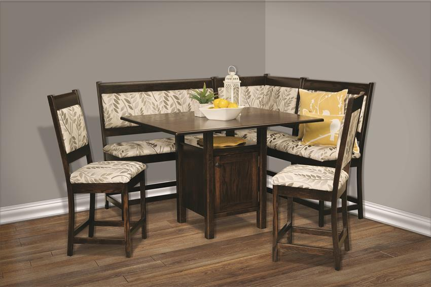 Upholstered Solid Wood Breakfast Nook Counter Height From