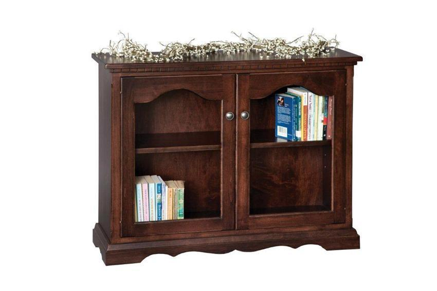 small bookcase with glass doors from dutchcrafters amish furniture. Black Bedroom Furniture Sets. Home Design Ideas