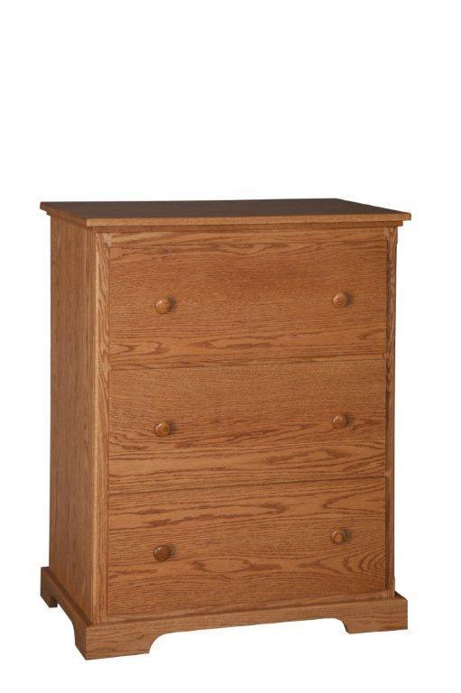 Amish Three Drawer Lateral File Cabinet