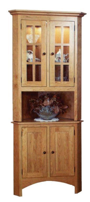 2 Door Shaker Style Solid Wood Corner Hutch From Dutchcrafters Amish