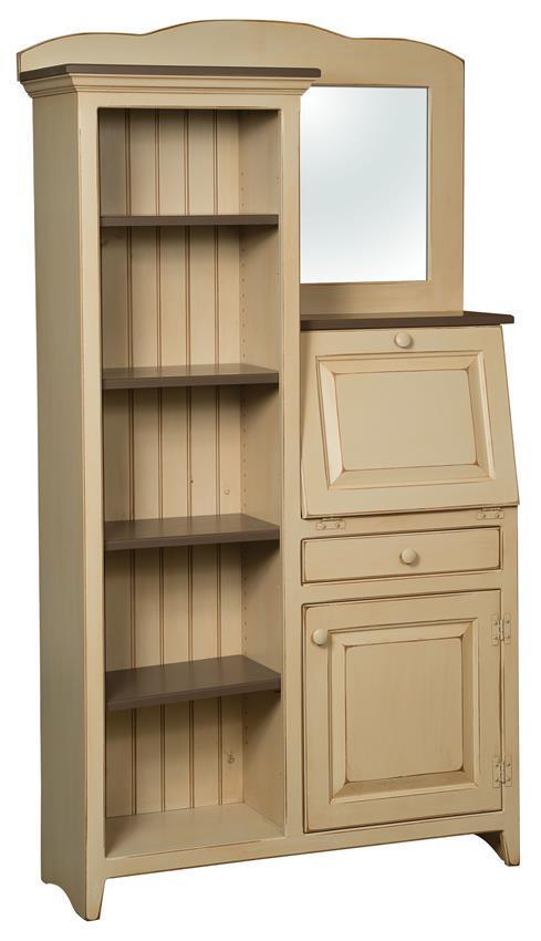 Standard Shipping Tracking >> Country Style Pine Secretary Desk with Side Bookcase from