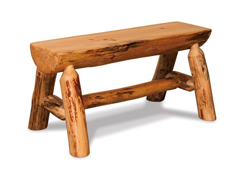 Amish Rustic Pine Half Log Bench