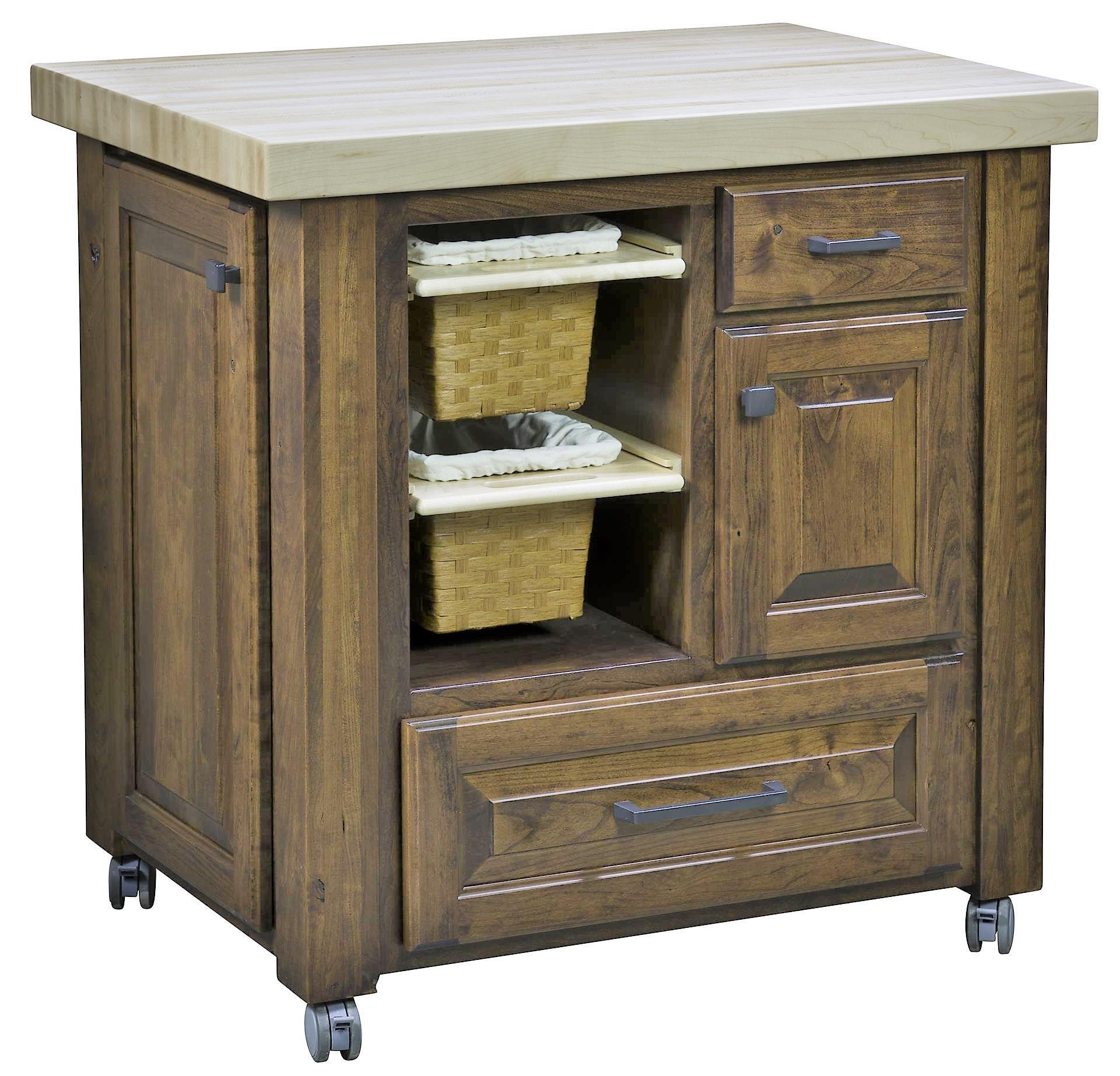 Amish Kitchen: Kitchen Island With Baskets From DutchCrafters Amish Furniture