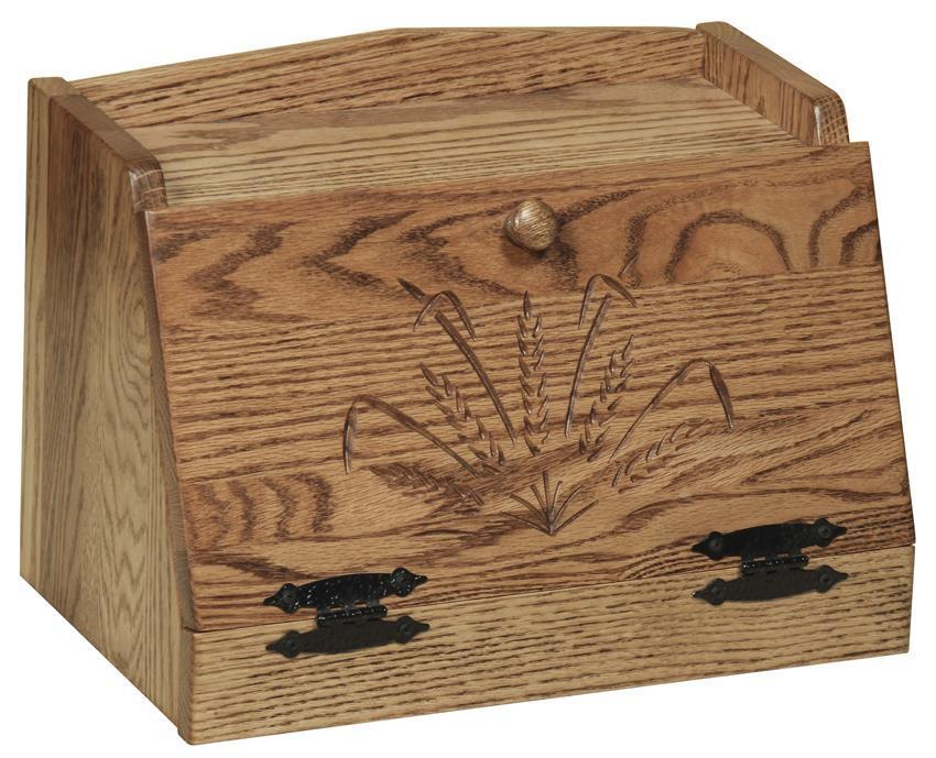 amish hardwood bread box with wheat design by