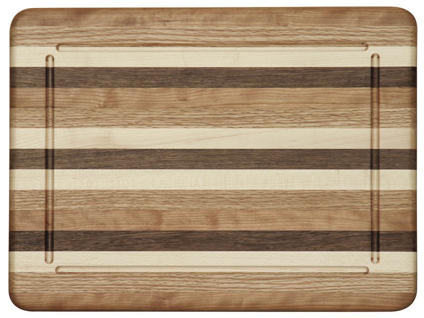 Amish Made USA Exotic Hard Woods Rectangle Cutting Board 2 Sizes Kitchen
