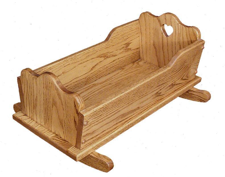 Amish Hardwood Doll Cradle With Heart