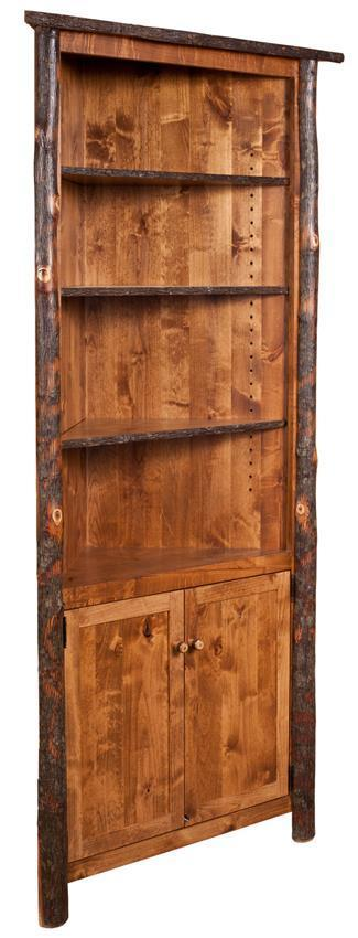 Rustic Hickory Wood Corner Hutch From Dutchcrafters Amish