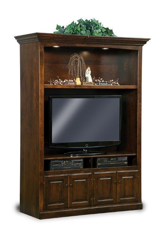 Early American Victorian Lighted Entertainment Center From
