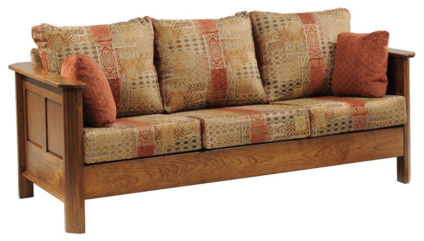 Amish Franchi Fabric Sofa With Wood Trim