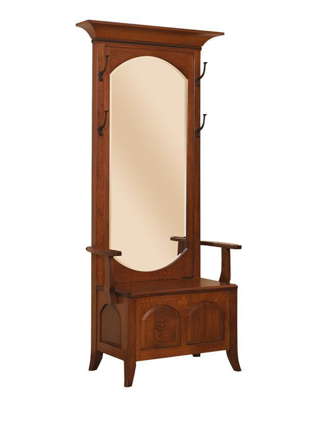 Hall Tree With Vertical Mirror From Dutchcrafters Amish Furniture
