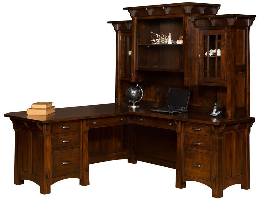 Rustic Americana Hardwood Executive Desk Home Office: Manitoba Solid Wood L Desk With Optional Topper From