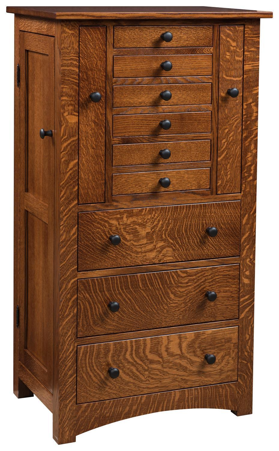Deluxe Flush Mission Jewelry Armoire with Pull Out Doors from