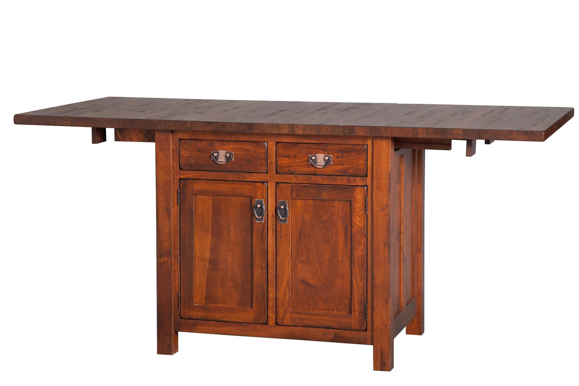 Mission Kitchen Island With Extendable Top From