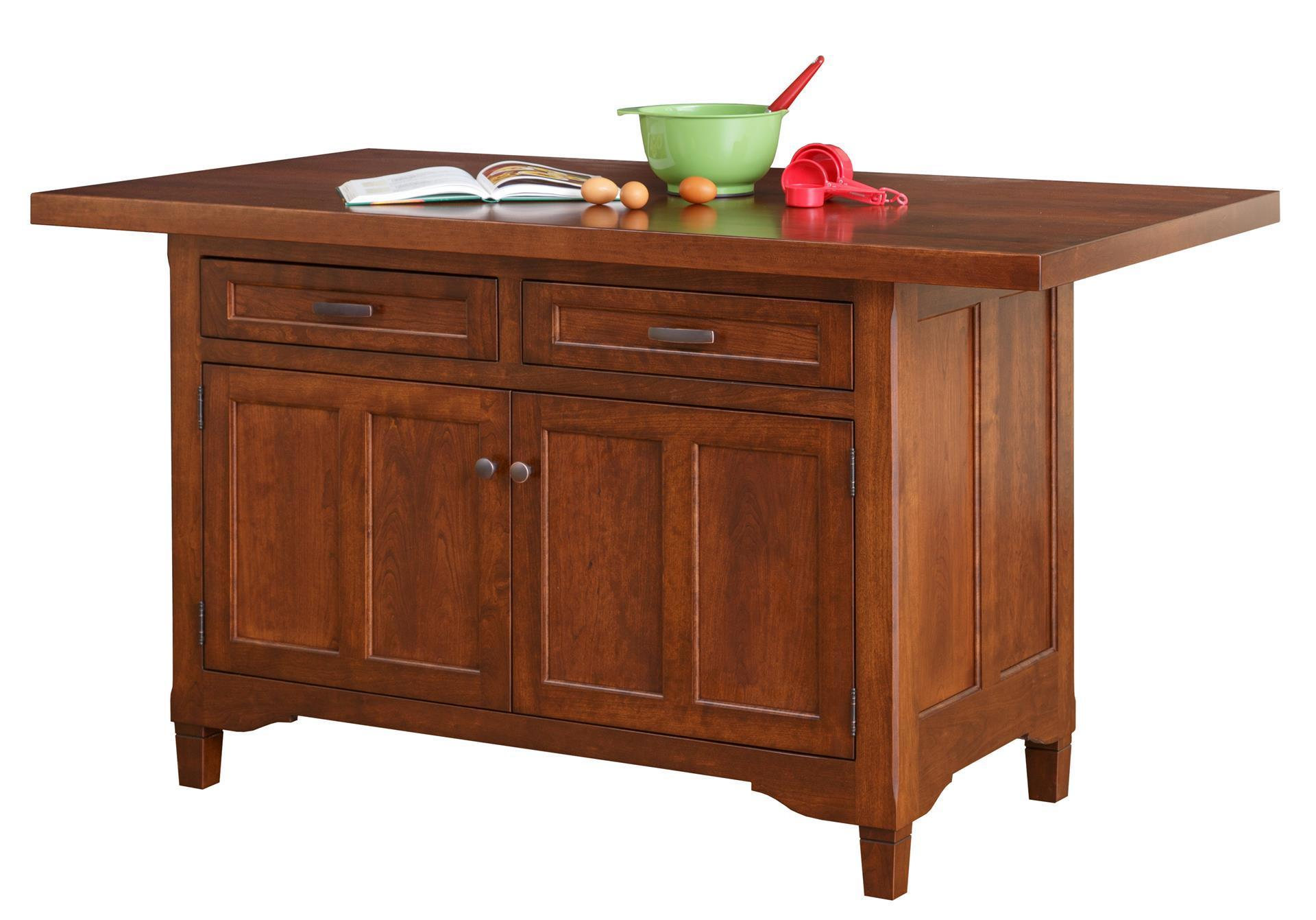 Amish Solid Wood Kitchen Island - Lexington Two Doors and Two Drawers