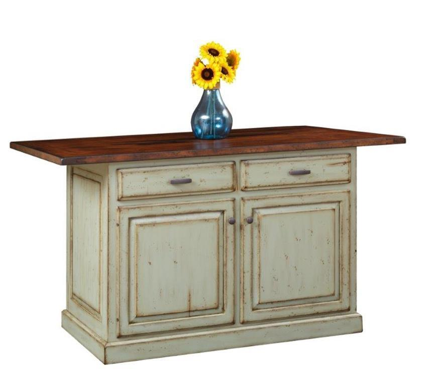 Solid Wood Kitchen Island With Closed Storage From