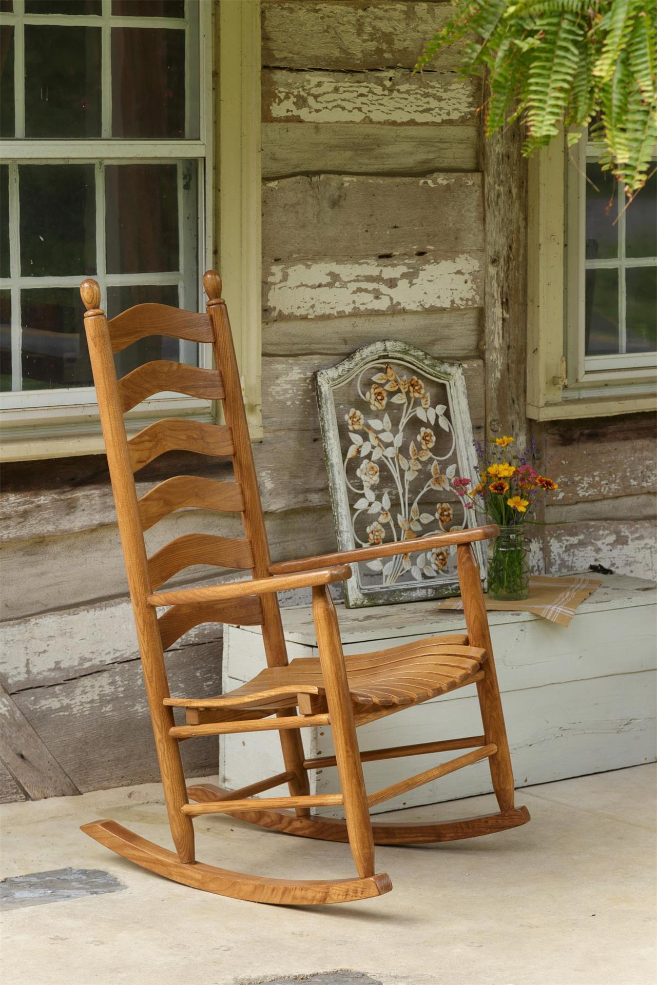 Ash Ladderback Porch Rocking Chair From Dutchcrafters