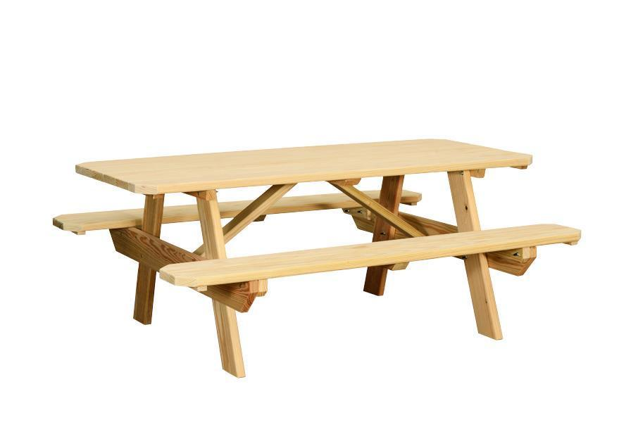 Amish Yellow Pine Wood Rectangular Picnic Table From