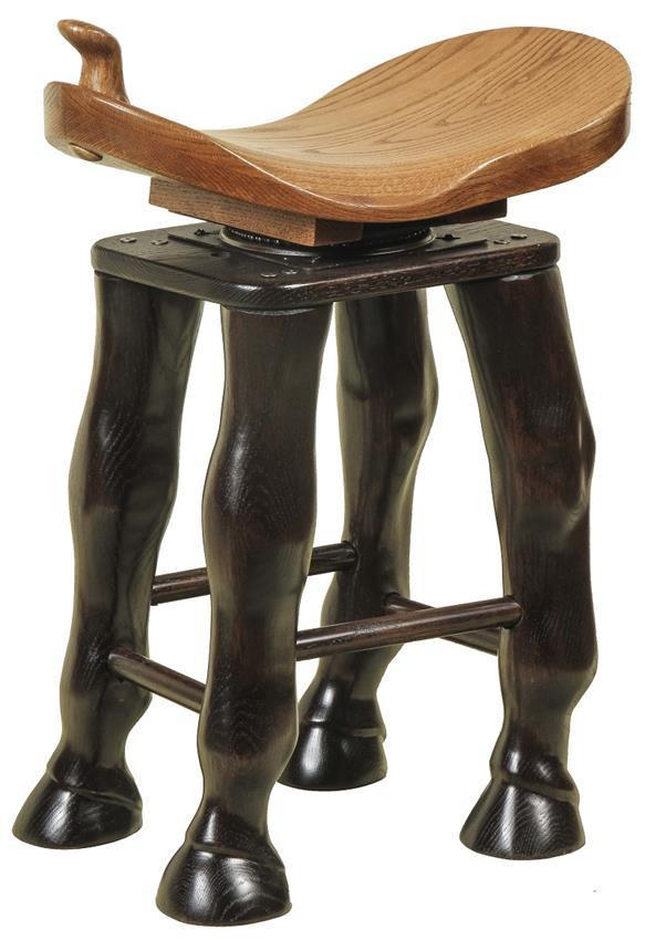 Amish Stool With Carved Horse Legs Swivel Seat From