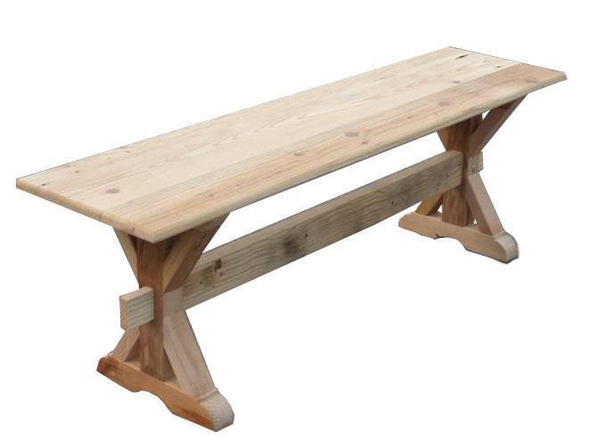 Amish Reclaimed Barn Wood X Trestle Bench