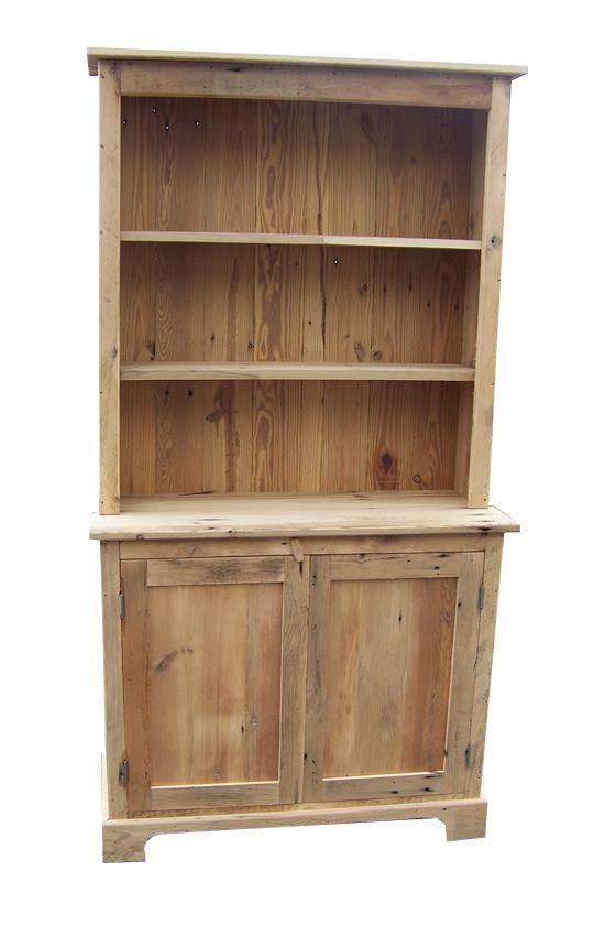 Amish Barnwood Farmhouse Stepback Hutch with Open Top