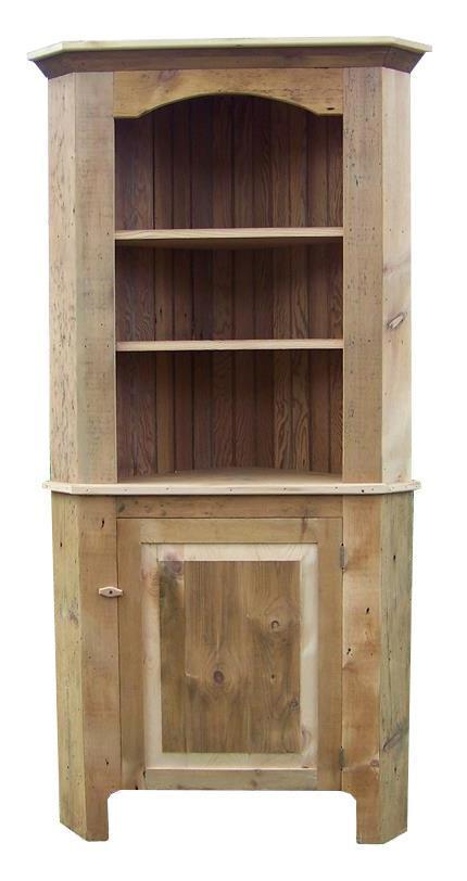 Reclaimed Barnwood Corner Hutch From Dutchcrafters Amish