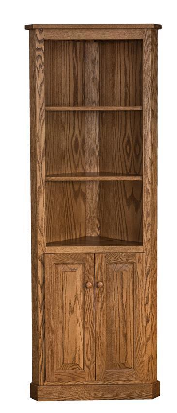Traditional Solid Wood Corner Bookcase From Dutchcrafters