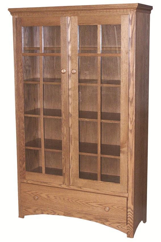 Mission Bookcase With Glass Doors And Drawer From Dutchcrafters Amish