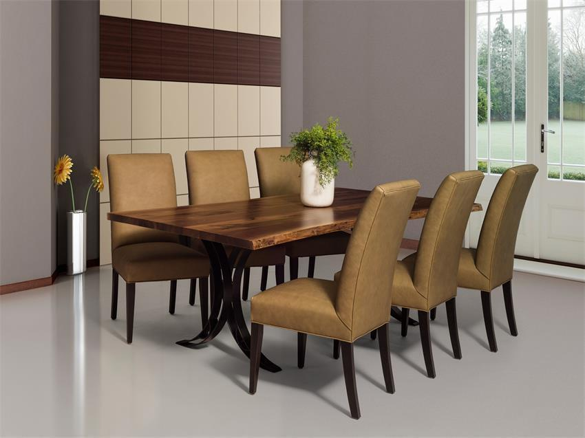 Exterior Balcony Ceiling Designs, Live Edge Dining Table With Metal Base From Dutchcrafters Amish