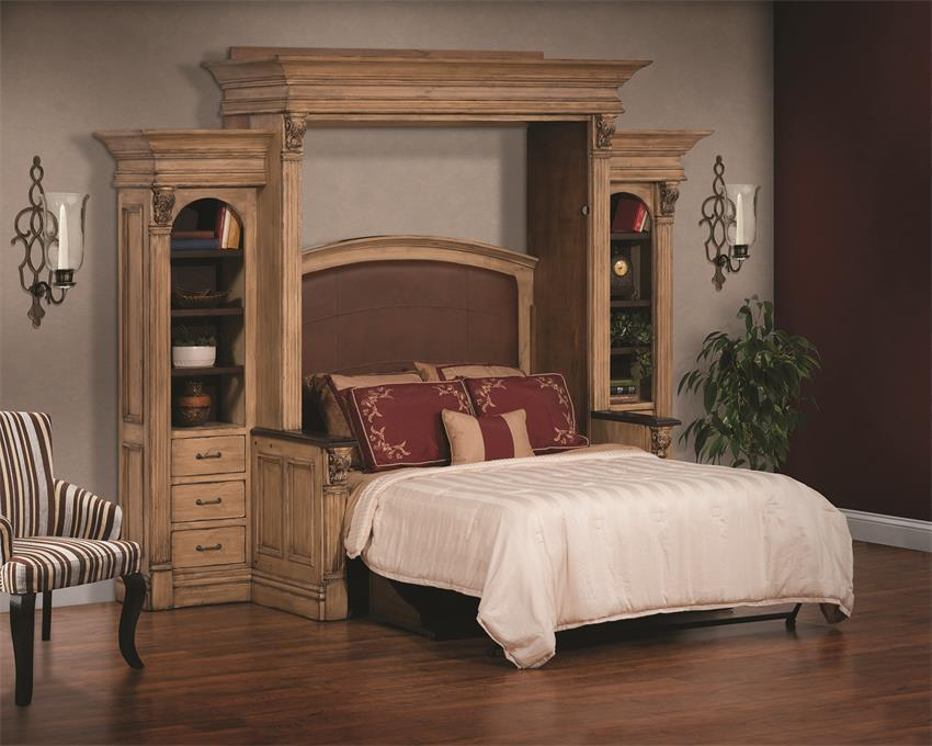 Amish Serenity Wall Bed And Desk With Side Storage From